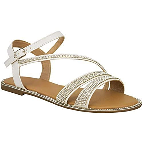 ea7f13aecab8b Fashion Thirsty New Ladies Womens Flat Strappy Peep Toe Diamante Ankle Strap  Summer Sandals Size