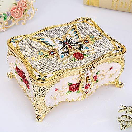 ETH Europese Russische Vintage gesneden diamant wit gekleurde vlinder sieraden opbergdoos met spiegel antieke metalen ambachten met slot decoratie 16,5x12x8cm elegant