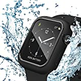 Apple Watch Case Compatible with Series 6/5/4/SE 44mm with Waterproof Tempered Glass Screen Protector, Black Protector Rim Full Coverage Touch Sensitive HD Cover Compatible for iWatch 44mm