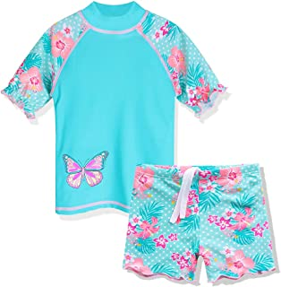 ZNYUNE Toddler Girls Rash Guard Short Sleeve Two Piece Swimsuits for Girls Swimwear Kids Surfing Suit UPF 50+ 3-10 Years