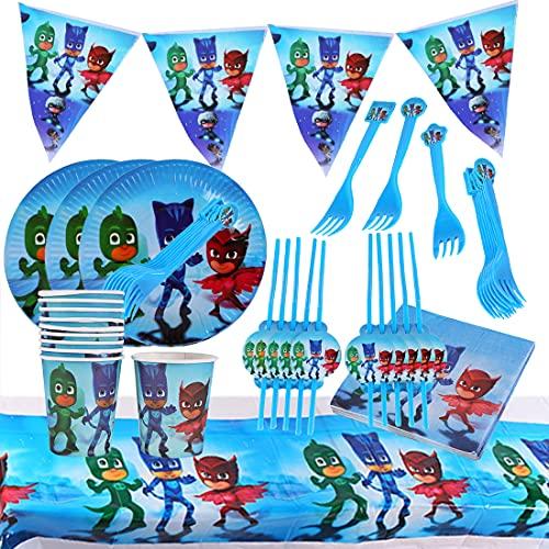 Accesorio de Decoración de Fiesta de Cumpleaño HANEL-71pcs Ninja Vajilla Contiene Platos Tazas Manteles Servilletas Tenedores banderín para Niños Niñas Decoración de Fiesta