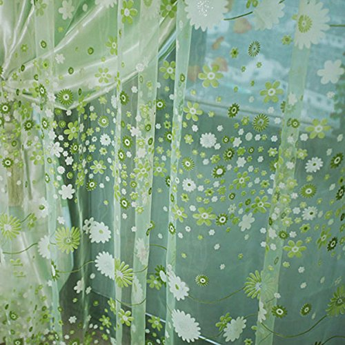Sharplace 2pcs Landhaus Stil, Floral Tüll Voile Gardine, Transparent Vorhang, für Sommer Wohnzimmer Kinderzimmer Deko, 200 x 100cm - Grün, 200 x 100cm