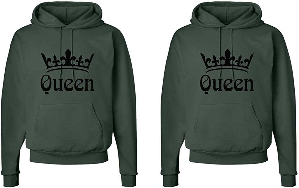 Fasciino LGBT Matching Gay Pride Hers & Hers Lesbian Couple Hooded Sweatshirt Set - Queen and Queen Crowns