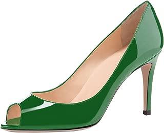 Women's Peep Toe Pumps 80mm High Heel Shoes Slip On Patent Pumps Formal Shoes