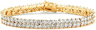 Cubic Zirconia 14K Gold Plated Tennis Bracelet for Women - Bridal, Wedding or Everyday Jewelry
