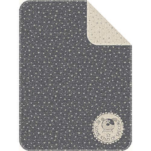 Ibena Babydecke, Schmusedecke grau 75x100cm, kuschelweiche Kinderdecke mit schönem Herzchenmuster, Baumwolldecke
