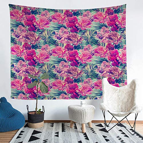 Girls Floral Tapestry Wall Hanging Romantic Flowers Tapestry for Kids Boys Women Tropical Flower Plant Luxury Decor Wall Tapestry Garden Theme Wall Art for Bedroom Living Room,Large 58x79 Inch