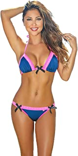 Chynna Dolls Swimwear Orlando Navy & Neon Pink Sweetheart Lace Triangle Top Bikini