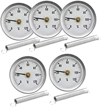 Perfk Clip-On Dial Thermometer -Temperature Bimetal Temp Gauge With Spring 63mm 120℃ Pack Of 5pcs