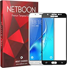 NETBOON Tempered Glass with Crystal Clear Black Edge Screen Protector Guard for Samsung Galaxy J7 Max - (Black)
