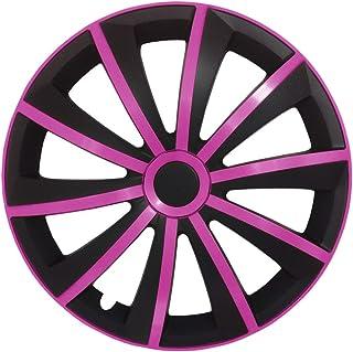 Autoteppich Stylers (Größe wählbar) 15 Zoll Radkappen/Radzierblenden GRAL MATT Schwarz/Pink passend für Fast alle Fahrzeugtypen – universal