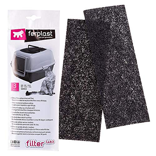 Filter L483 Ersatzfiltersatz für die Katzentoilette Genica, Aktivkohlefilter neutralisiert Gerüche, Packung à 3 Stück, 24 x 10 x 5,3 cm
