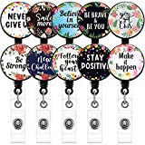 10 Pieces Badge Reel with Motivation Quotes Retractable ID Badge Holder Inspirational Badge Reels with Clip on ID Card Holders (Black)