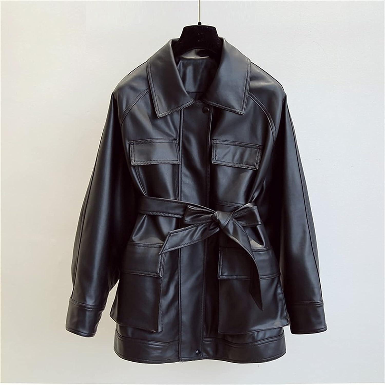 KSFBHC Autumn Women Pu Faux Soft Leather Jacket Streetwear Female Biker Pockets Turn Down Collar Coat (Color : Black, Size : Small)