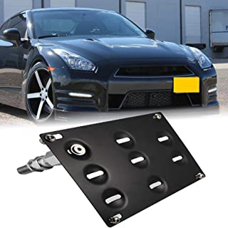 GTP JDM Style Front Bumper Tow Hook License Plate Mounting Bracket Holder Relocator for Nissan 370Z Z34 GTR R35 Sentra Juke/Infiniti G37 2dr Coupe / Q60 / Q50 (fit Without Front Parking Sensor ONLY)