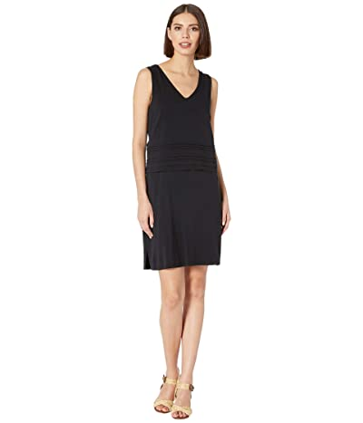 Mod-o-doc Tank Dress with Pintuck Overlay in Cotton Modal Spandex Jersey (Black) Women