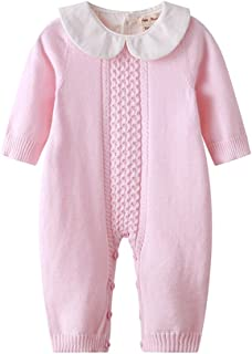 Baby Boy Girl Long Sleeve Peter Pan Collar Knit Romper Newborn Boy Outfit Clothes Twin Baby Clothing Baby Jumpsuit Spring 2019