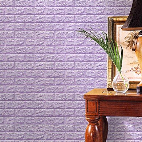 FAMILIZO PE de Espuma de 3D Wallpaper DIY Pared Pegatinas Decoración de Pared en Relieve Piedra de ladrillo (60_x_60_cm, Púrpura)