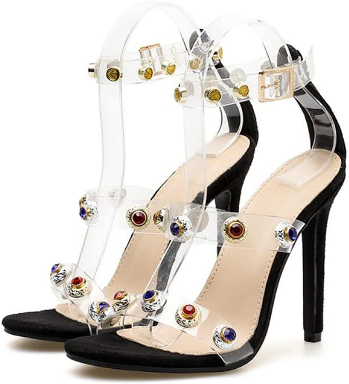 LZWSMGS Women's shoes High Heel Court shoes High Heels Summer Transparent color Rhinestone High Heels Work shoes Party Ladies Sandals (color   Black, Size   36 EU)