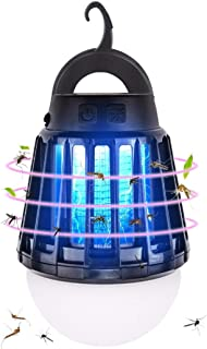 IREGRO IPX6完全防水 蚊取り器 充電式USB 誘虫UV-LEDランプ UV光源誘引式 携帯型 ミニ多機能 屋外照明ランタンアウトドアキャンプ 蚊取り器 虫取り器 蚊よけ 捕虫器 殺虫ライト 薬剤不要 省エネ (ブラック)