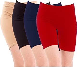 Pixie Biowashed Cycling Shorts for Girls/Women/Ladies Combo (Pack of 4) Beige, Black, NavyBlue, Red - Free Size