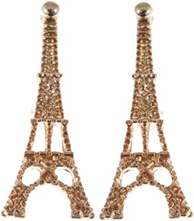 Alilang Golden Tone Eiffel Tower Paris France Cute Fashion Button Earrings