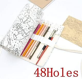 YWSCXMY-AU Cat Print Canvas Pencil Case 36/48/72 Hole Rolled Pencil Bag Portable Pencil Case (Color : Brown)