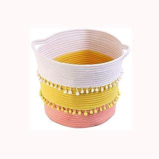 ECSWP Coton tissé Panier de Stockage, Tassel décoratifs Panier de Rangement Hamper blanchisserie Seau Boîte de Rangement e...