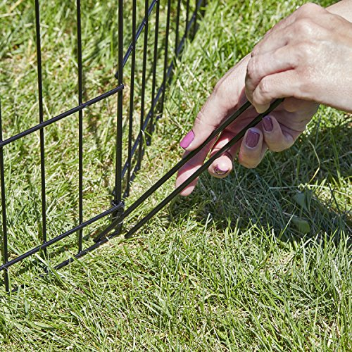 Exercise Pen Ground Stakes   Pack of 8 Replacement Ground Stakes for Outdoor Exercise Pens/Pet Playpens, Fits All Metal Models, Black