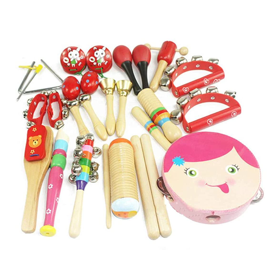 JFMBJS Toddlers Musical Instrument Set, 16 Pcs Wooden Percussion Toy for Boys Girls, Rhythm Band Set Tambourine Finger Castanets for Preschool Children and Kids