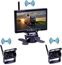 $99 » Backup Camera System Wireless 7'' Car Backup Camera Monitor for Trucks,Cars,SUVs,Pickups,Vans,Campers HD Color Night Vision Waterproof 2 Rear View Camera Guide Lines Reversing Use Easy Installation