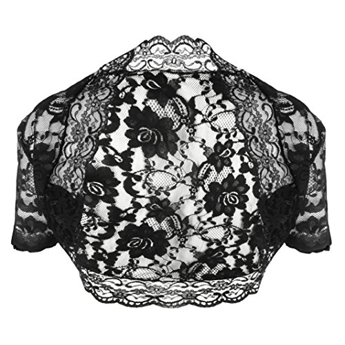 Grace and Flair Black Lace Short Sleeve Bolero Shrug Size 22