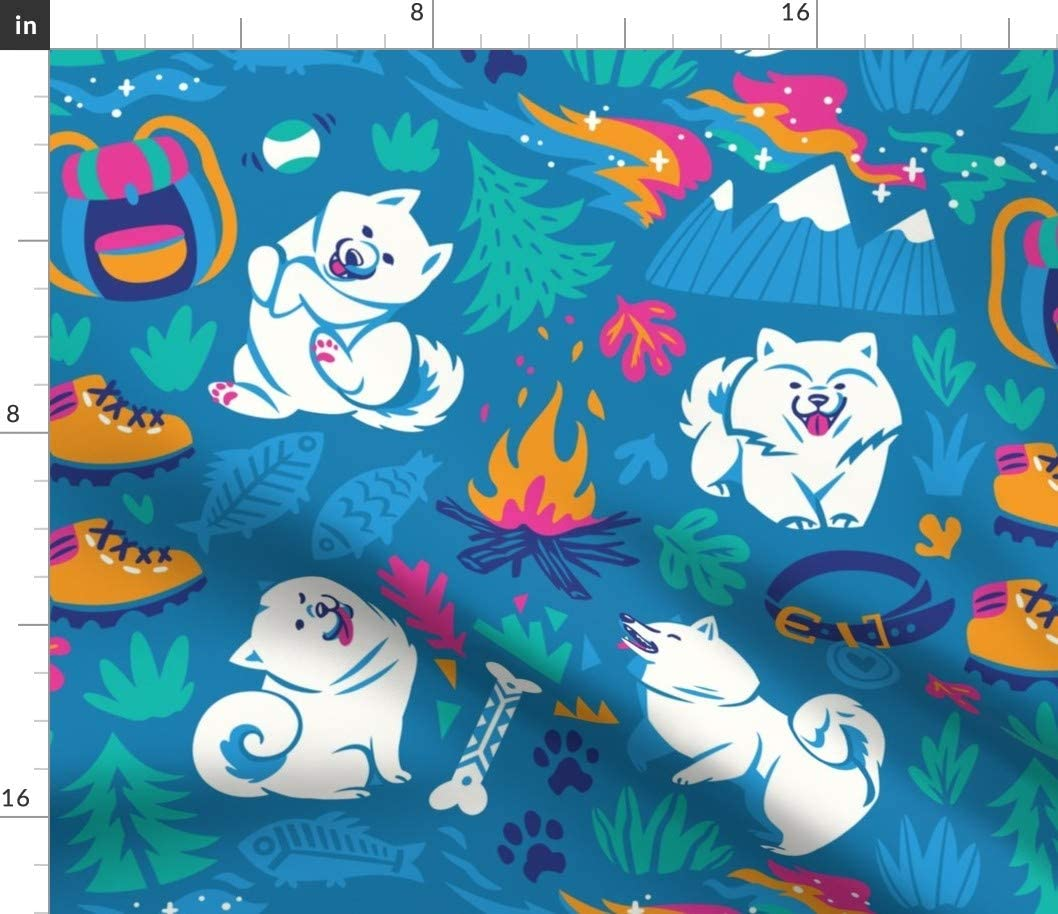 Spoonflower Special sale item Fabric - Hiking Samoyed Dogs Puppy Tra New popularity Husky Camping