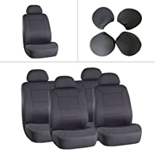 ECCPP Universal 5MM Padding Soft Car Seat Cover w/Headrest - 100% Breathable Embossed Cloth Stretchy Durable Gray for Most Cars Trucks Vans