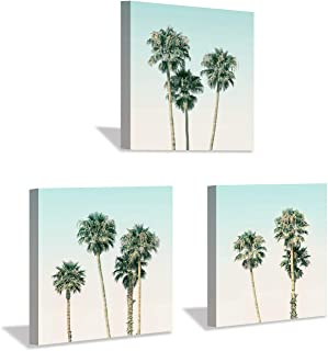 Beach Palm Canvas Wall Art: Seascape Tropical Palm Trees Picture Painting Artwork for Bathroom (16'' x 16'' x 3 Panels)