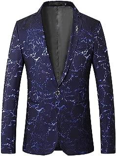 Mens Casual Lightning Print Blazer 1 Button Dress Suit Jacket Dinner Sport Coat
