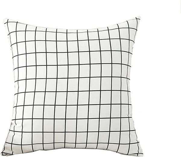 100 棉麻欧式腰靠抱枕套装饰现代网格图案枕套带隐形拉链客厅办公室和沙发广场 18 18in 45x 45厘米白色