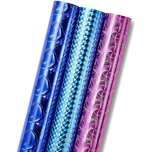 Rouleaux de Papier Cadeau (Lot de 3) - Papier d'Emballage Holographique Brillant Irisé Etroit et Long - Rose, Bleu, Marine 42,6 cm x 5,2 mètres