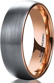 King Will Duo Unisex 5mm 6mm 7mm 8mm کلاسیک رز سیاه طلای / آبی گنبدی کاربید تنگستن باند عروسی حلقه راحتی مناسب
