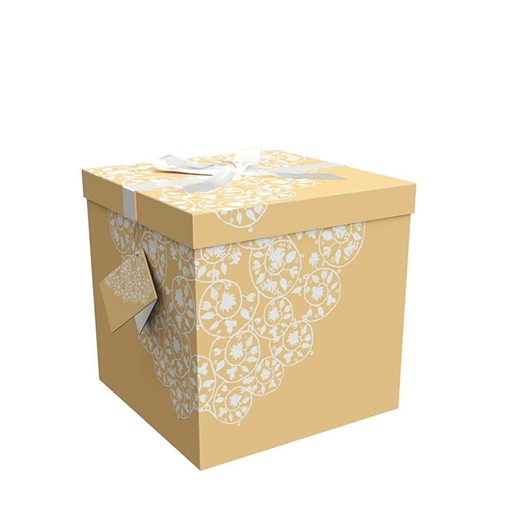 Gift Box 9x9x9 Cassandra Pop up in Seconds comes with Decorative Ribbon mounted on the lid A Gift Tag and Tissue Paper - No Glue or Tape Required
