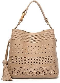 DGSFES Frauen hohlen Design PU Leder Handtasche Messenger Bag