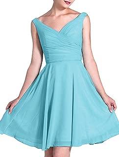 TalinaDress Women Short Chiffon V Neck Bridesmaid Dresses Prom Gowns E236LF