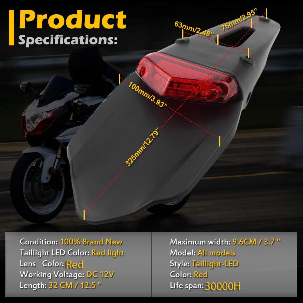 Rear Fender Mudguard Lamp LED Brake Red Tail Light with Bracket for Off-road Motorcycle Motocross Dirt Bike