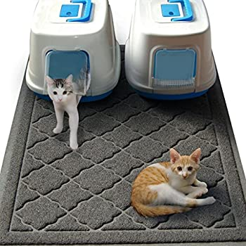Easyology Jumbo Cat Litter Mat  47  x 36   Extra Large Kitty Litter Box Mat with Scatter Control to Keep Floors and Rug Clean Gray