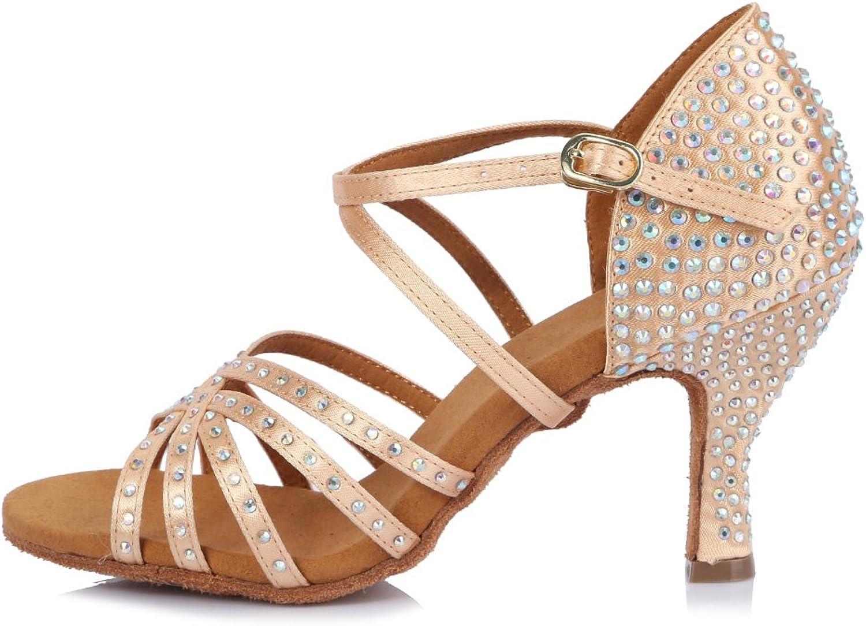 Roymall Women's Satin Latin Dance shoes with Rhinestone Ballroom Salsa Tango Performance shoes,Model AFCT404