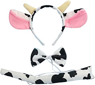 Marlegard 3PCs Funny Dalmatian Milk Leopard Costume Headband Ear with Tail Tie