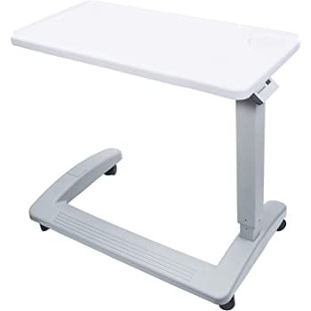 Vaunn Medical Deluxe Adjustable Overbed Bedside Table with Wheels (Hospital and Home Use)