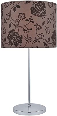 "Lite Source LS-21997 Table Lamp with Brown Printed Fabric Shades, 12"" x 12"" x 23"", Chrome Finish"