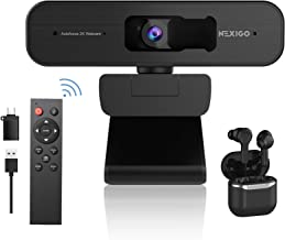2K Zoomable Webcam with Wireless Earbuds, AutoFocus, Support 1080P@ 60FPS, 3X Digital Zoom, Remote Control and Sony Senso...