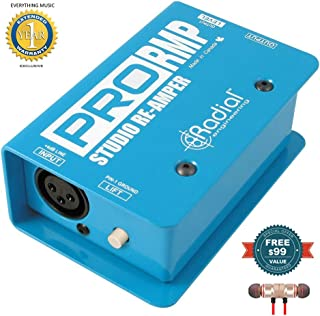 Radial Engineering ProRMP Studio Re-Amper Passive Re-Amping Direct Box includes Free Wireless Earbuds - Stereo Bluetooth In-ear and 1 Year Everything Music Extended Warranty